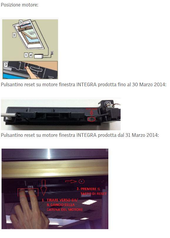 Come fare il reset telecomando e finestra integra velux for Motore elettrico per velux